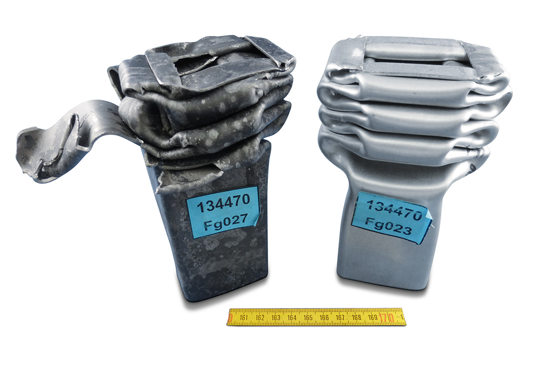 After crash comparison between 22MnB5 (left) and Forta H1000 (right)
