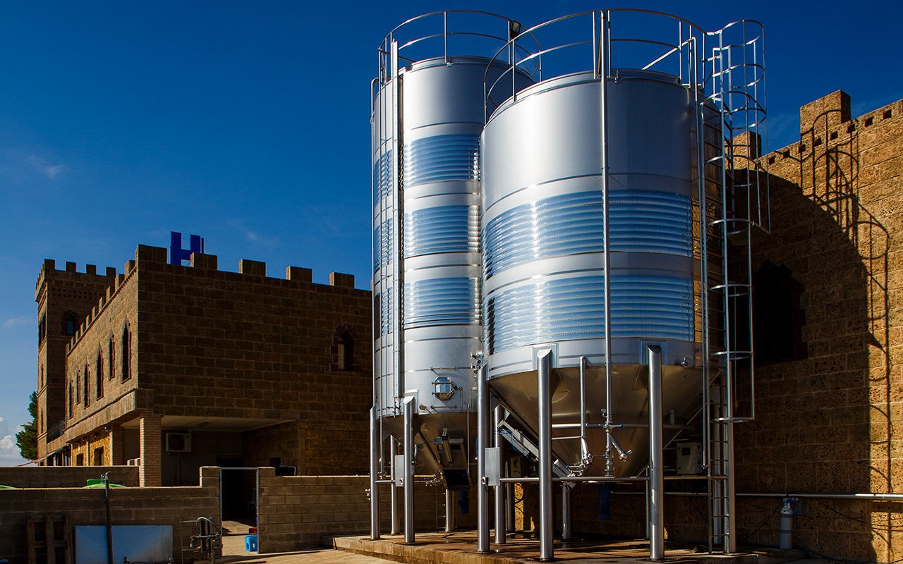 Parcitank wine tanks made from stainless steel at a winery in Spain