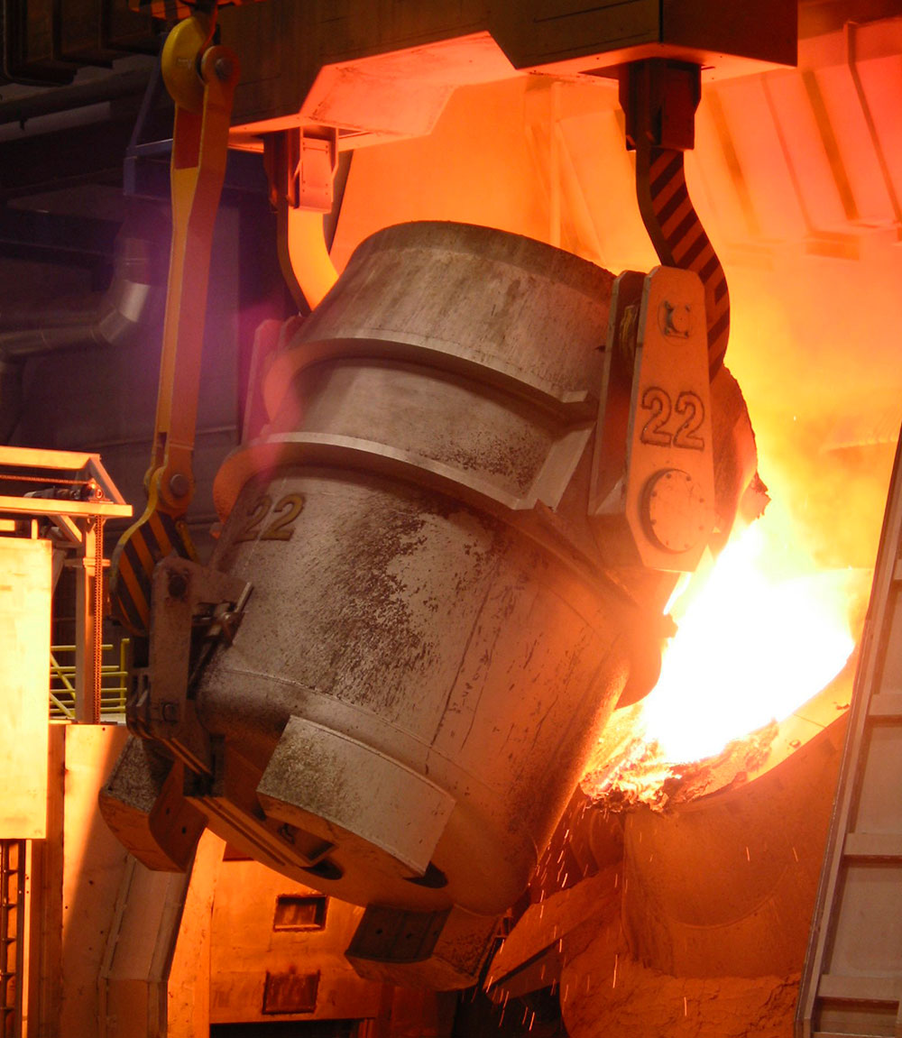 AOD converter at Outokumpu's steel melting shop in Tornio, Finland