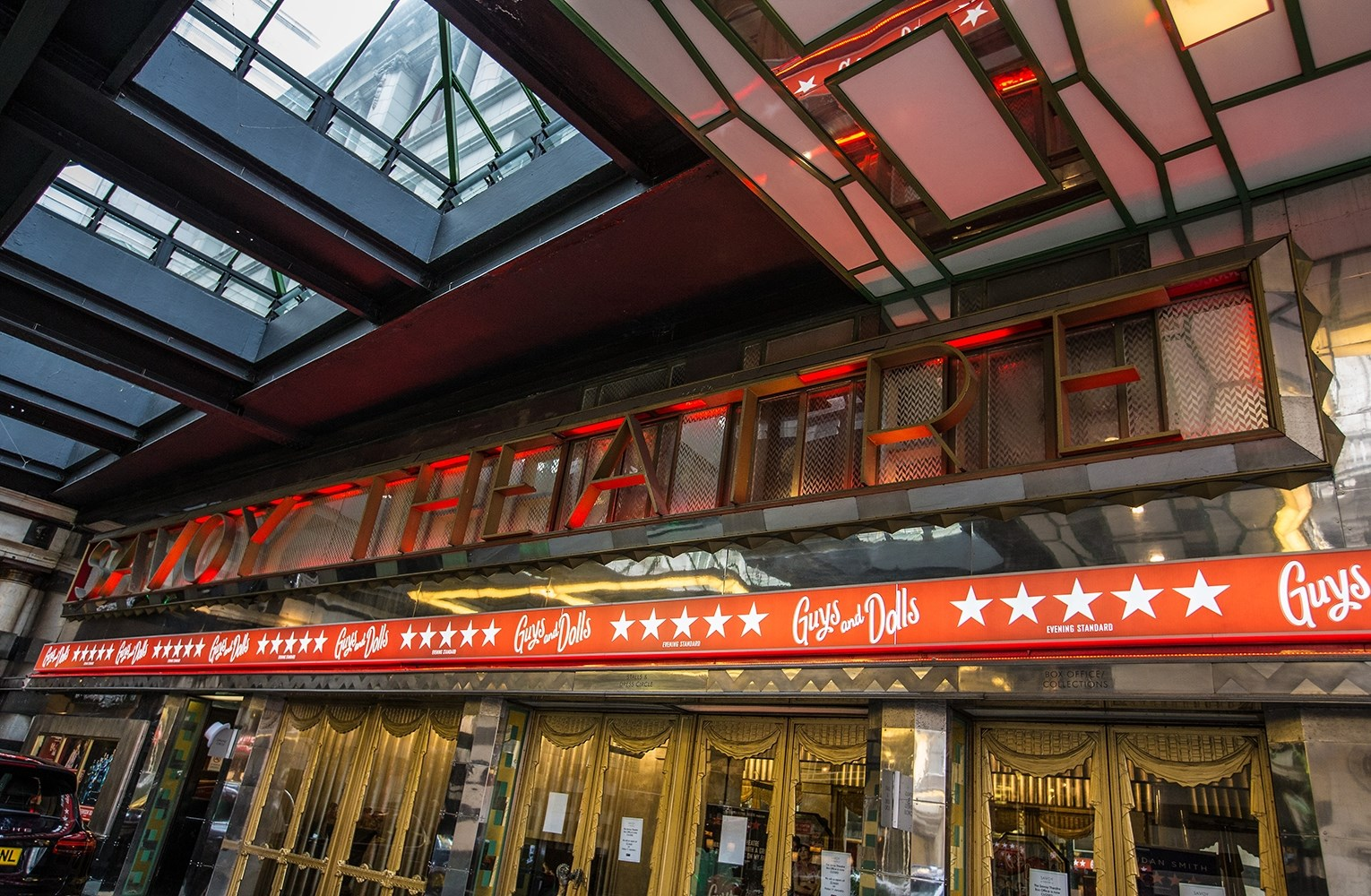 The sidewalk canopy of the Savoy Theatre in London, UK